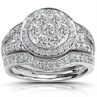 Annello 14k Gold 1ct TDW Diamond Bridal Halo Ring Set (G-H, I1-I2)