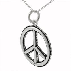 Tressa Sterling Silver Edged Peace Sign Necklace