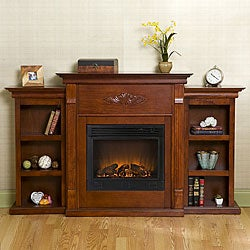 Dublin Mahogany Bookcase/ Electric Fireplace with Remote