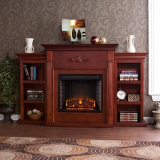 Harper Blvd Dublin 70-inch Mahogany Bookcase/ Electric Fireplace with Remote