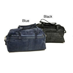 Piel Leather 18 Inch Denim Carry On Duffel Bag with Removable Straps