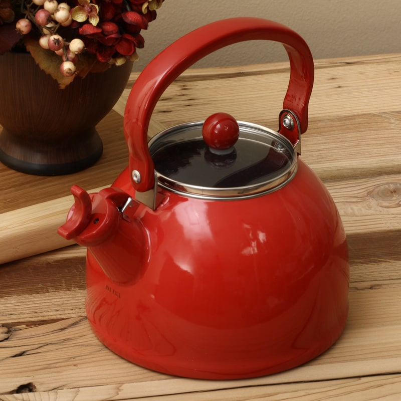 Red Tea Kettle ~ Calypso basics red whistling tea kettle