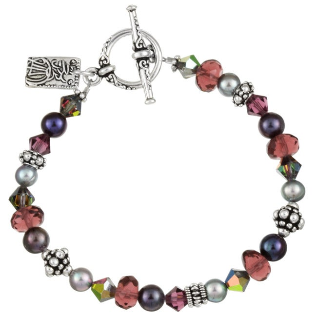 Charming Life Silverplated Purple Crystal Asian Charm Bracelet
