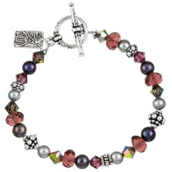 Charming Life Silverplated Purple Crystal Asian Charm Bracelet