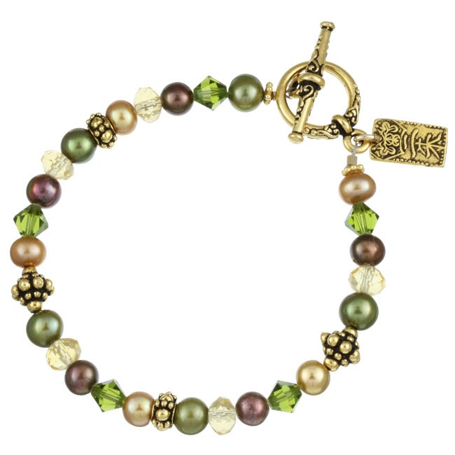 Charming Life Goldplated Brown FW Pearl/ Crystal and Asian Charm Bracelet (5.5-6.5 mm)