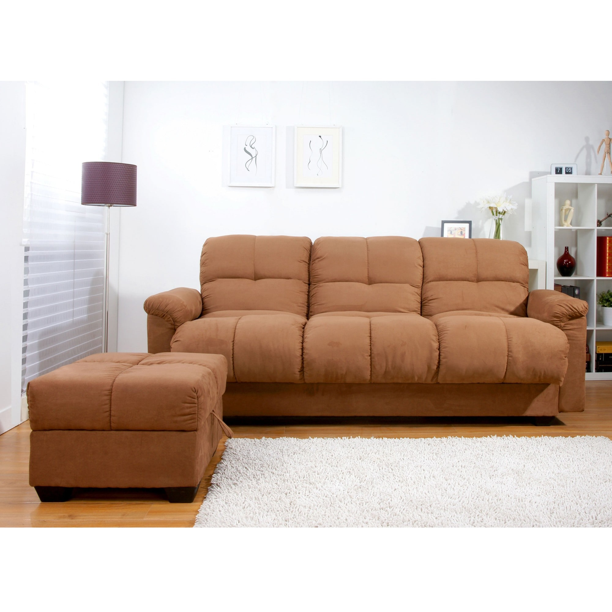 Multifunctional Microsuede Sofa Bed and Ottoman Set at Sears.com