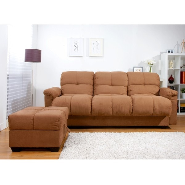 Multifunctional Microsuede Sofa Bed and Ottoman Set