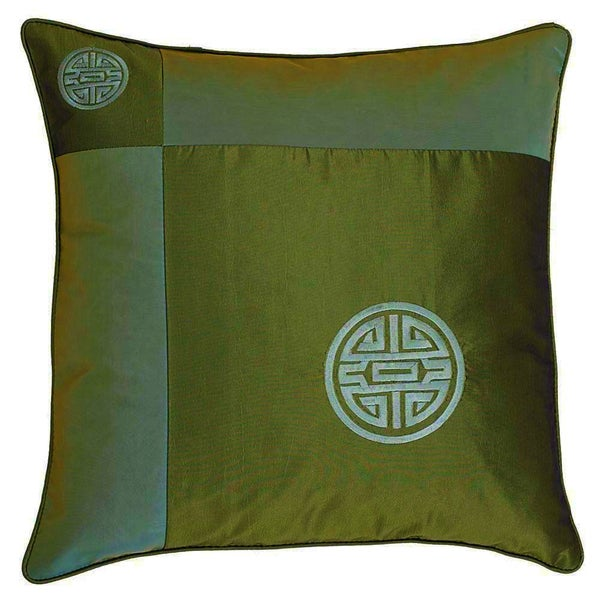 Chinese Symbol Of Life Green Cushion Cover