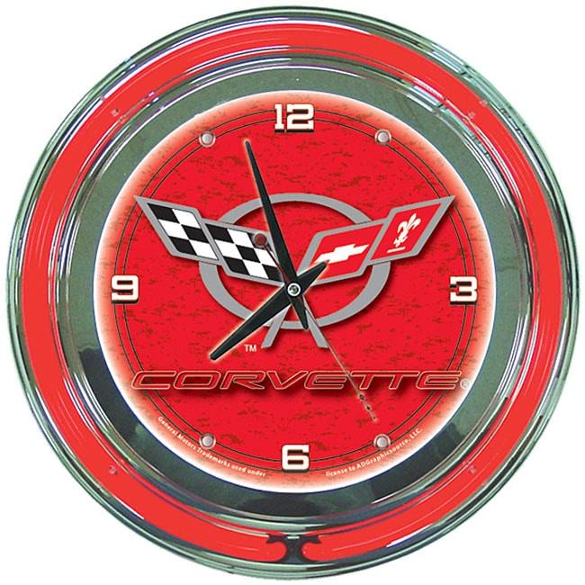 Chevy Corvette Licensed 14-inch Neon Clock