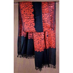 Wool 'Black Floral Drama' Shawl (India)