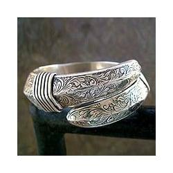 Sterling Silver 'Curls' Bangle Bracelet (India)