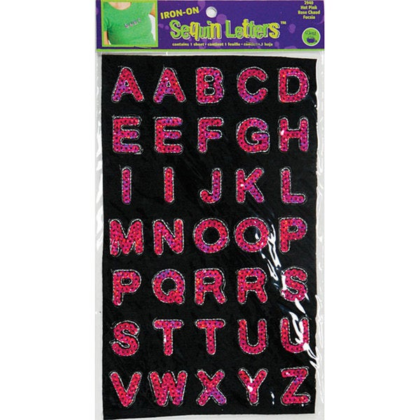 Iron-On Hot Pink Sequin Block Letters