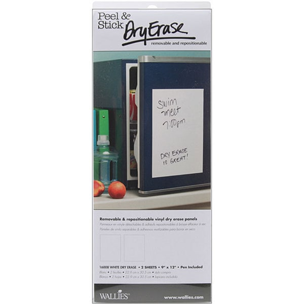 Wallies Peel and Stick White Dry Erase Sheets (Pack of 2)