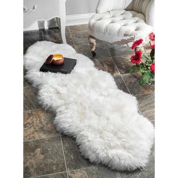 nuLOOM Alexa Double Natural Soft Sheepskin/ Wool Shag