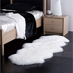 nuLOOM Alexa Double Natural Soft Sheepskin / Wool Shag Runner