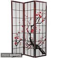 Wood and Rice Paper Flower Blossom 3-panel Room Divider (China)