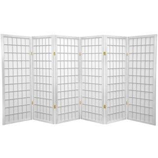 Wood and Rice Paper 4-foot 3-panel Shoji Windowpane Screen (China)