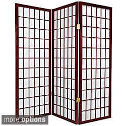 Wood and Rice Paper 4-foot 3-panel Shoji Windowpane Screen (China)