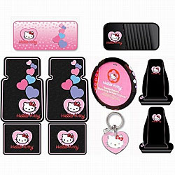 Hello Kitty Sanrio 10-piece Auto Accessory Set