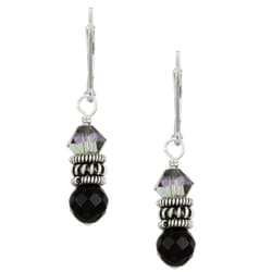 Charming Life Sterling Silver Black Onyx and Crystal Earrings