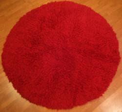 Premium Flokati Red Wool Rug (6' Round)