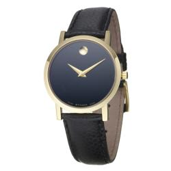 Movado Women's Museum Goldplated Steel Case Black Leather Strap Watch