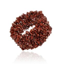 Glitzy Rocks Red Jasper Chip Multi-row Stretch Bracelet