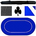 Blue Rubber Backed Portable Poker Table Top (70 x 35-in)