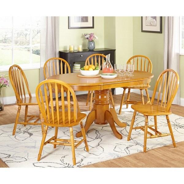 Simple Living Farmhouse 5 Piece Oak Dining Set Furniture Home Piece Room Wood