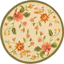 Hand-Hooked Garden Ivory Wool Floral Rug (3' Round)