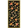 Hand-hooked Garden Black Rectangular Wool Runner (2'6 x 6')