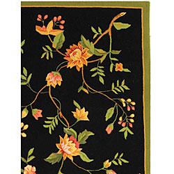 Safavieh Hand-Hooked Garden Black Wool Area Rug (6' x 9')