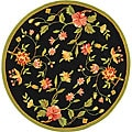 Hand-hooked Garden Black Wool Bordered Rug (8' Round)