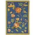 Hand-hooked Garden Blue Wool Rug (1'8 x 2'6)