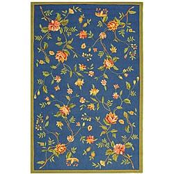 Hand-hooked Garden Blue Wool Rug (7'9 x 9'9)