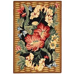 Hand-hooked Floral Black Wool Rug (2'9 x 4'9)