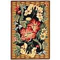Safavieh Hand-hooked Floral Black Wool Rug (3'9 x 5'9)