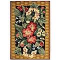 Safavieh Hand-hooked Floral Black Wool Rug (6' x 9')