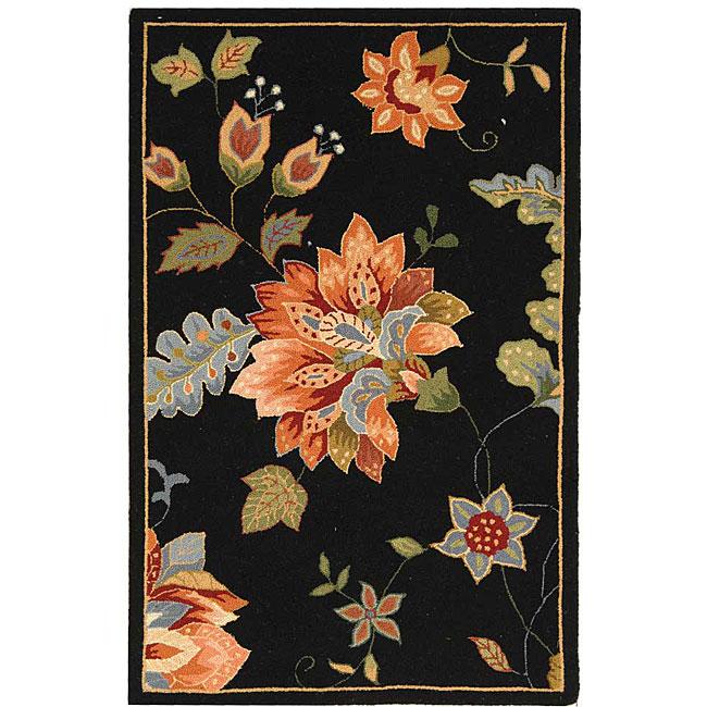 Safavieh Hand Hooked Botanical Black Wool Runner 2 6 X 4