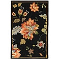 Hand-hooked Botanical Black Wool Runner (2'6 x 4')