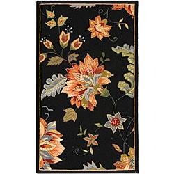 Hand-hooked Botanical Black Wool Rug (2'9 x 4'9)