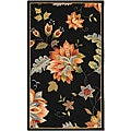 Hand-hooked Botanical Black Wool Rug (2'9 x 4'9)