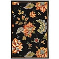 Hand-hooked Botanical Black Wool Rug (3'9 x 5'9)