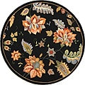 Hand-Hooked Transitional Botanical Black Wool Rug (4' Round)