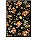 Hand-Hooked Botanical Black Wool Area Rug (5'3