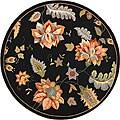 Safavieh Hand-Hooked Botanical-Motif Black Wool Rug (5'6