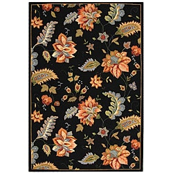 Hand-hooked Botanical Black Wool Rug (6' x 9')