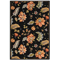 Hand-hooked Botanical Black Wool Rug (7'9 x 9'9)