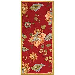 Safavieh Hand-hooked Botanical Red Wool Runner (2'6 x 6')