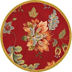 Safavieh Hand-hooked Botanical Red Wool Rug (3' Round)